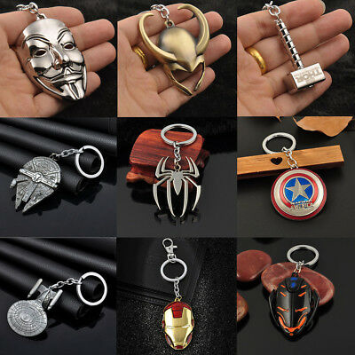 Mens Retro Anime Figure The Avengers Marvel Character Keychain Keyring Keyfob