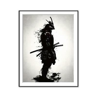 Black and White Japanese Samurai Painting Picture Home Wall Poster Decor