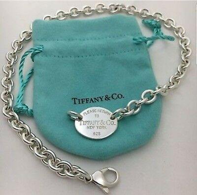 59aae0863 AUTHENTIC PLEASE RETURN to Tiffany & Co. Oval Tag Choker Necklace ...