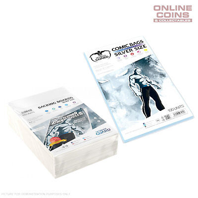 BUNDLE ULTIMATE GUARD RESEALABLE SILVER Size Comic Bags & Backing Boards x 100