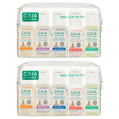 Gaia 10 x 50ml Natural/Organic Newborn/Baby Starter Kit Wash/Shampoo/Oil/Lotion