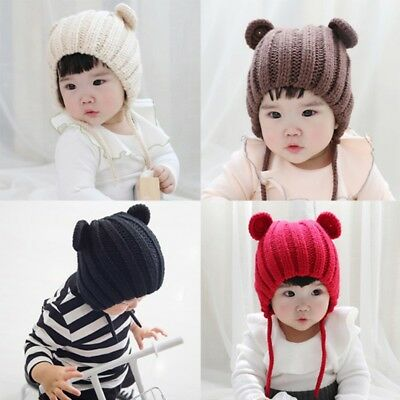 Cute Baby Kids Girls Toddler Infant Beanies Hat Winter Warm Knitted Cap 0-3 Year