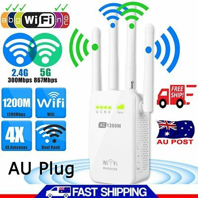 1200Mbps Dual Band Wireless Router 4Antenna Range Extender Network WiFi Repeater