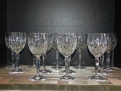 """12 Piece 6 7/8"""" Gorham Full Lead Crystal Water Wine Glass Goblet Set Lady Anne"""
