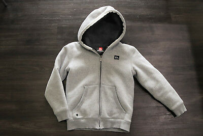 Boys Quiksilver grey lined sherpa hoodie size 8