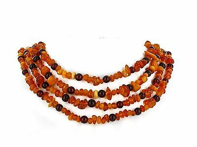 Baltic Amber Necklace Vintage Yellow Cognac Opaque Natural Gemstone 222 cm 83 gr
