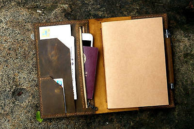 Personalized leather midori travel journal A5 refillable notebook organizer