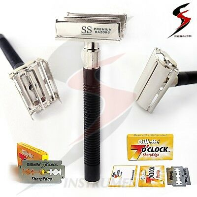 Safety Razor & 10 x Double Edge Blades Classic Shaving Vintage  Butterfly Open