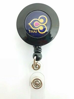 Thai Airways Airlines YO YO ID Card Badge Holder Retractable Reel TG Lanyard