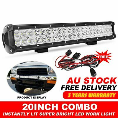 """20inch CREE LED Light Bar Spot Flood Offroad Driving Work 4x4 Truck 23""""+ wire"""