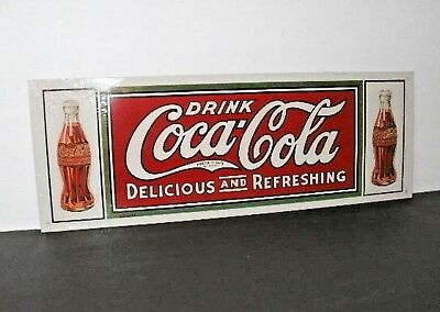 "Drink Coca-Cola DELICIOUS AND REFRESHING Metal Sign 6"" X 16 1/2"""
