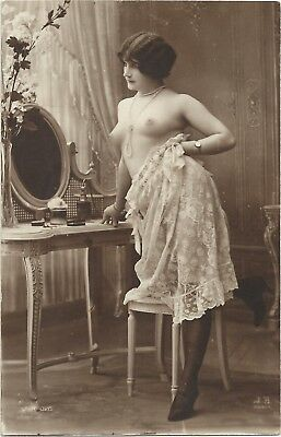 Rare original old French real photo postcard nude art study 1910s RPPC pc #110