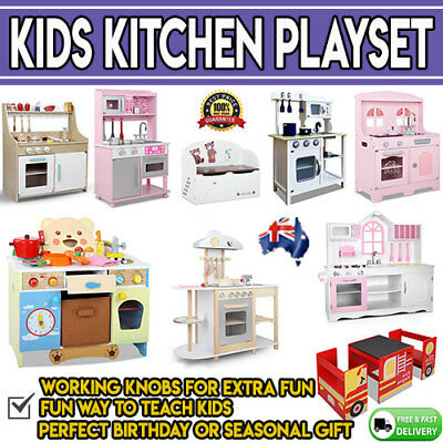 Wooden Kitchen Playset Kids Girls Cute Cooking Table Chair Toy Box Pink White