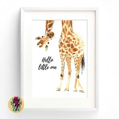 Hello little one Giraffe Print / Nursery Print / Baby Room Decor New Baby Print