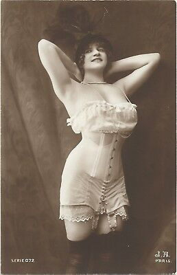 Rare original old French real photo postcard Art Deco nude study 1910s RPPC #111