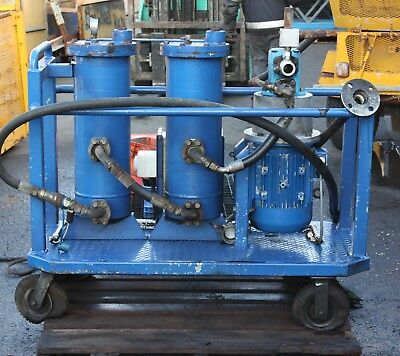 3 phase hydraulic oil purification filter pump skid trolley dual filters Vickers