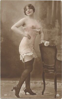 Rare original French hand tinted real photo postcard nude study 1910s RPPC #120