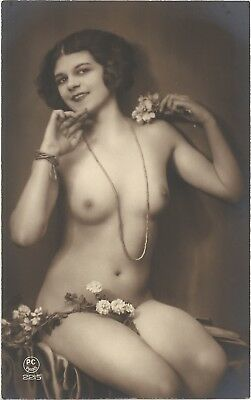 Rare original old French real photo postcard Art Deco nude study 1920s RPPC #140