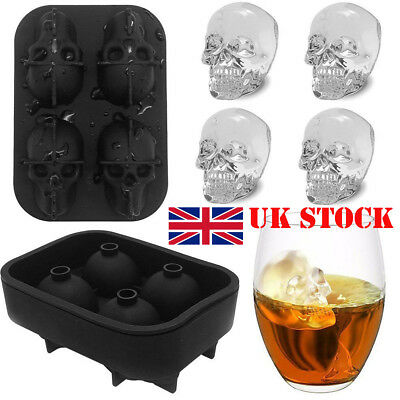 HOT Silicone 3D Skull Shape Ice Cube Trays Mold Mould Cocktails Whisky Maker UK