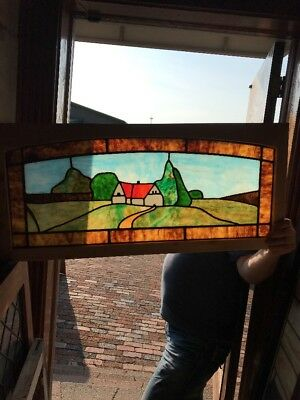 SG 2297 antique Stainglass window cottage seen 15 x 32.5