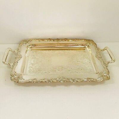 Vintage Silver Plate Viners Footed Serving Tray /  Platter