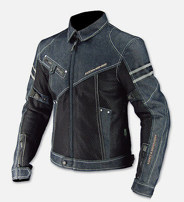 Komine Motorcycle Jeans Jacket Denim Biker Motorbike Armoured Mens Racing Coat