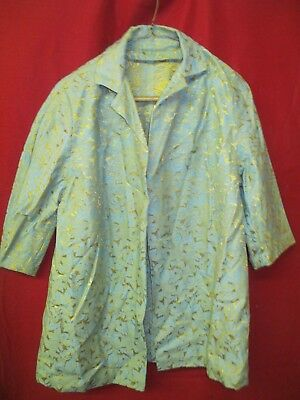 Vintage 1960's Woman's cotton Bed Lounging Jacket turquoise & gold floral