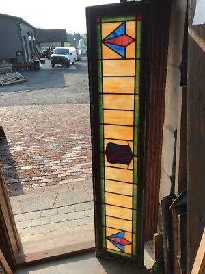 SG 2301 antique deco  stain glass transom window 14 x 64.25