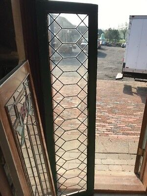 Sg 2302 Antique geometric leaded glass transom window 17 x 66