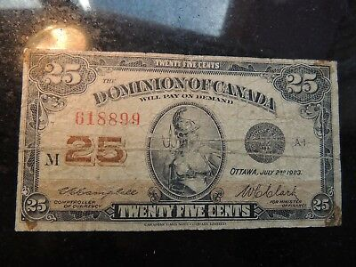 1923 DOMINION OF CANADA SHINPLASTER 0.25 CENTS 618899 CAMPBELL CLARK DC-24d