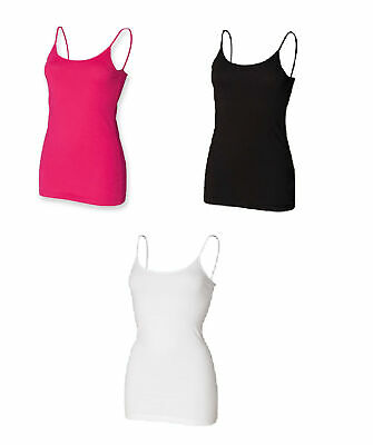 Ladies Spaghetti Adjustable Strap Cotton Vest Top SK212