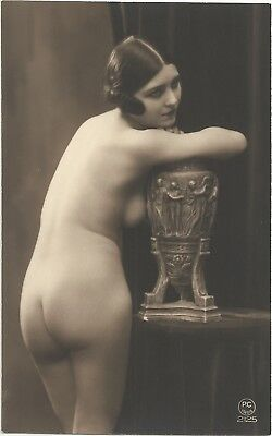 Rare original old French real photo postcard Art Deco nude study 1920s RPPC #135