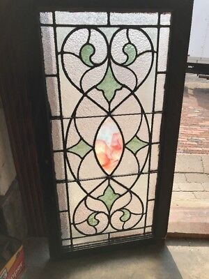 SG 2308 antique stained and textured glass transom window 20.75 x 40