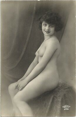 Rare original old French real photo postcard Art Deco nude study 1920s RPPC #153