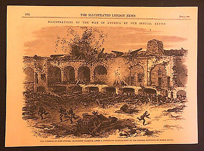 Original Engraving Interior of Fort Sumter SC Bombardment by Federals Dec 1863