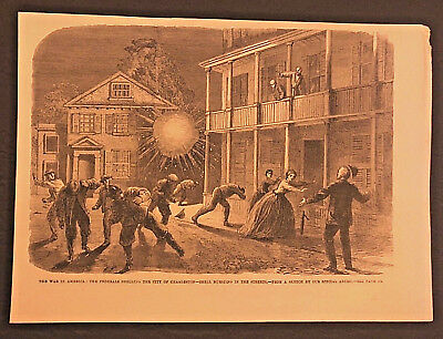 Original Engraving Shelling of Charleston SC by Federal Forces