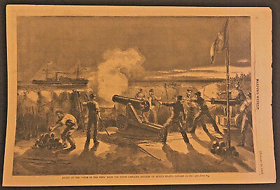 Original Engraving Harpers Weekly Firing on the Star of the West Charleston SC