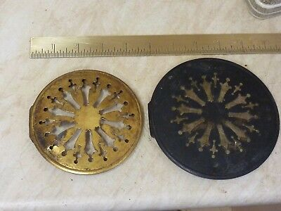 2 Antique French Clock Pierced Brass Back Doors (B3)