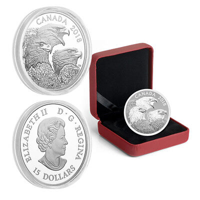 2018 Canada $15 Bald Eagles Magnificent  Silver Proof Coin  (Mintage: 5,500)