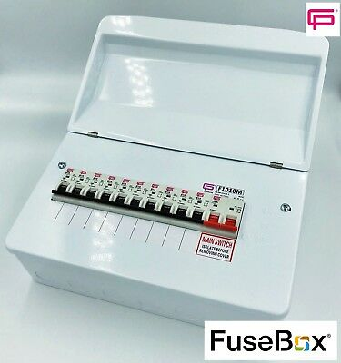 FUSEBOX 100A MAINS 10 WAY METAL CONSUMER UNIT AMD3 INC 10 x B TYPE MCBs F101M