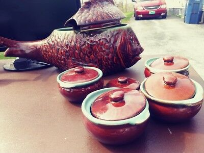 Vintage Chinese Brown Fish Tureen with 4 ceramic brown blue lip pots and 5 lids-