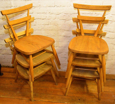12 available Ercol green dot vintage stacking childs chairs mid century antique