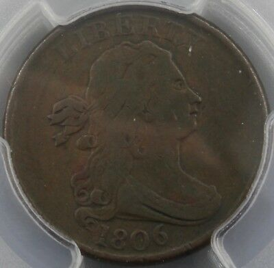 1806 Draped Bust 1/2 Cent Pcgs F12 Small 6 No Stems