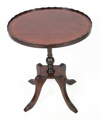 Regency Style Inlaid Mahogany Pedestal Oval Wine Table - FREE Shipping [PL4461]