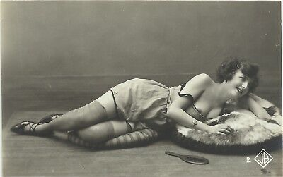 Rare old French Biederer real photo postcard Art Deco nude study 1920s RPPC #150