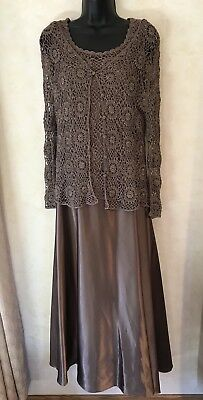 Womens Size 12 Mother of the Bride Dress. Brown With Shall - Excellent Condition