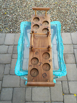 Vintage and Rare Blakely Cactus Glass Wooden Tray Holder