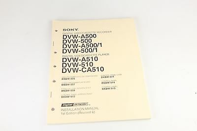 Sony Digital Videocassette Recorder/Player Installation Manual (Revised 6)