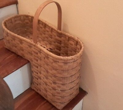 "Vintage Large Tall 19"" Hand Woven Wicker Stair Step Basket Handle Signed Lois 93"