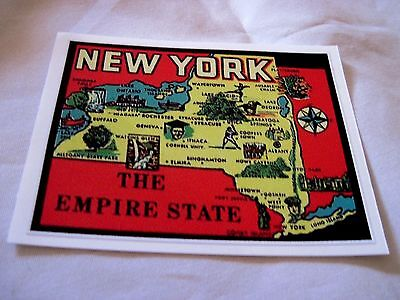 State Of New York Empire State Vintage Style  Travel Vinyl  Sticker,decal